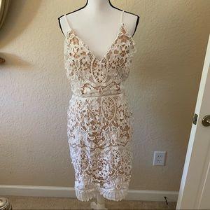 Fashion nova spaghetti strap v neck white dress 1X